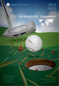 Plakat mistrz golfa ilustracja