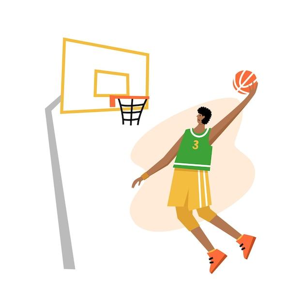 Plakat mistrzostw koszykówki mężczyzn. koszykarz strzela piłkę do obręczy. baner sportowy