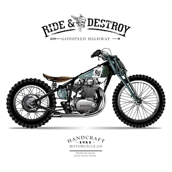 Plakat motocykla vintage chopper
