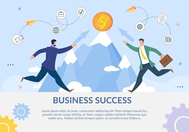 Plakat motywacji płaskiej metafory sukcesu w biznesie