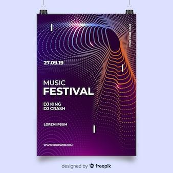 Plakat muzyczny fioletowe fale