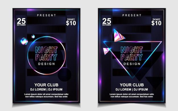 Plakat muzyczny kolorowy noc dance party