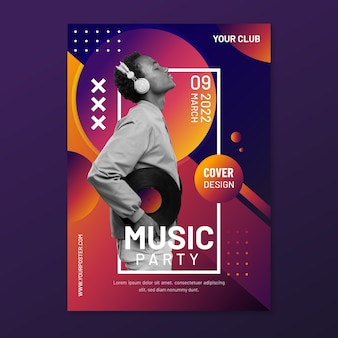 Plakat muzyczny memphis ze zdjęciem