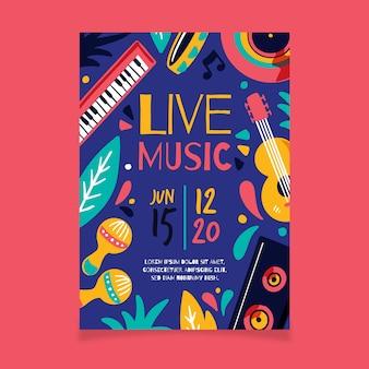 Plakat muzyczny z asortymentem instrumentów muzycznych