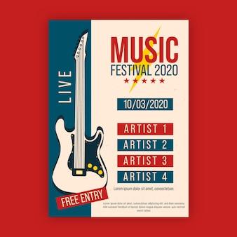Plakat muzyczny z gitarą elektryczną