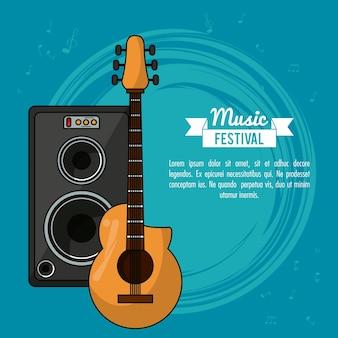 Plakat muzyczny z gitarą i głośnikiem