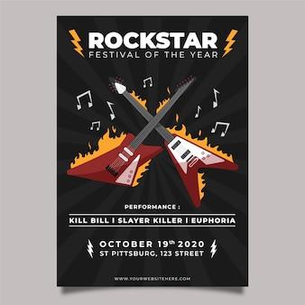 Plakat muzyczny z gitarami elektrycznymi