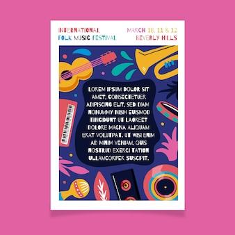 Plakat muzyczny z instrumentami muzycznymi