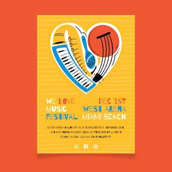 Plakat muzyczny z sercem wykonanym z instrumentów