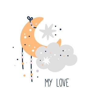 Plakat na baby shower, uroczy księżyc z chmurami i gwiazdami, nadruk dla dzieci