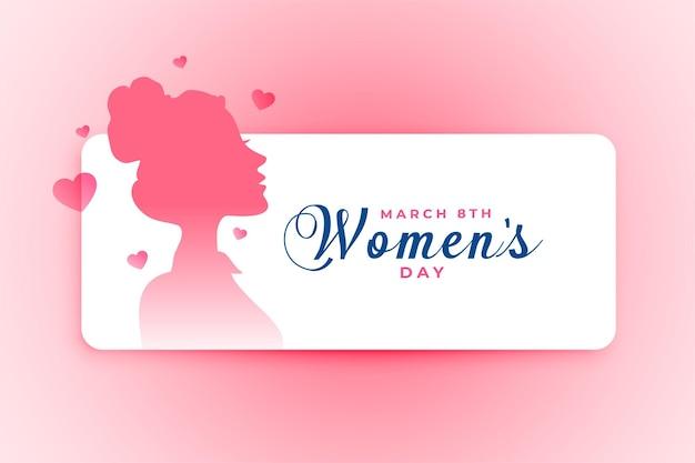 Plakat na dzień kobiet z twarzą dziewczyny i sercami