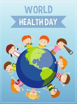 Plakat na dzień matki ziemi ze szczęśliwymi dziećmi na ziemi