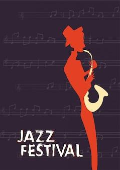 Plakat na festiwal lub koncert muzyki jazzowej. muzyk gra na saksofonie na ciemnym tle.