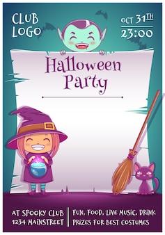 Plakat na halloween z małymi dziećmi w strojach czarownicy i wampira z czarnym kotkiem i miotłą. edytowalny szablon z miejscem na tekst. do plakatów, banerów, ulotek, zaproszeń, pocztówek.