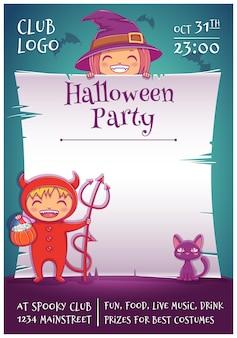 Plakat na halloween z małymi dziećmi w strojach wiedźmy i diabła z czarnym kotkiem i miotłą. edytowalny szablon z miejscem na tekst. do plakatów, banerów, ulotek, zaproszeń, pocztówek.