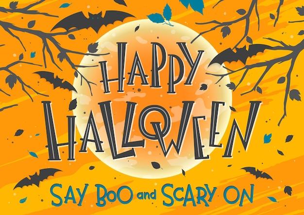 Plakat na halloween z napisem, nietoperzami, pełnią księżyca i martwymi drzewami. projekt halloween idealny do wydruków, ulotek, banerów, zaproszeń, pozdrowień i nie tylko. ilustracja wektorowa halloween.
