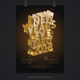 Plakat na imprezę noworoczną z efektem 3d