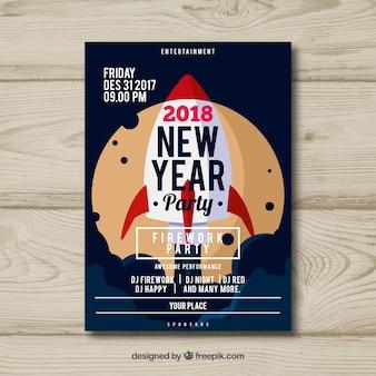 Plakat na imprezę noworoczną z rakietą