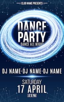 Plakat na imprezę taneczną. jasne skręcone linie. świecący lejek. magiczny niebieski pył. elementy splotu. tekst dj-a i nazwy klubu