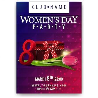 Plakat na imprezę z okazji dnia kobiet prezent i tulip