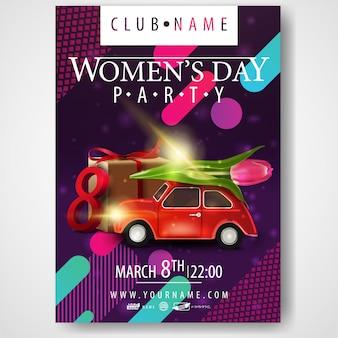 Plakat na imprezę z okazji dnia kobiet samochodem z tulipanem
