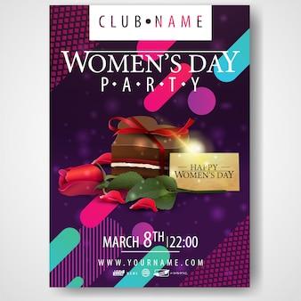 Plakat na imprezę z okazji dnia kobiet z cukierkami i różą