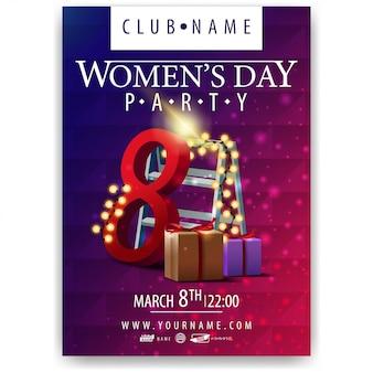 Plakat na imprezę z okazji dnia kobiet z prezentami i girlandą