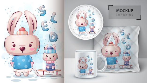 Plakat na sankach królika i merchandising