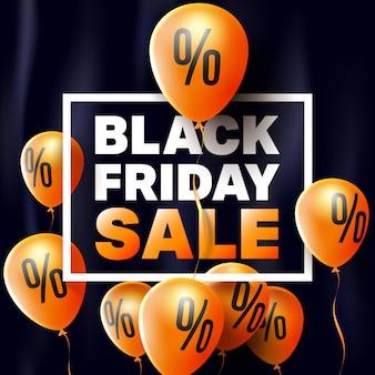 Plakat na sprzedaż w czarny piątek przez balony