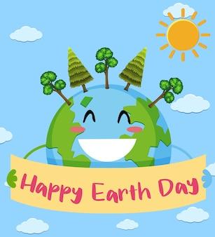 Plakat na szczęśliwy dzień ziemi ze szczęśliwą ziemią