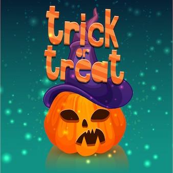 Plakat na wesołe halloween z głową dyni w kapeluszu czarownicy.