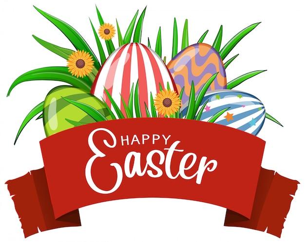 Plakat na wielkanoc z zdobionymi jajkami i kwiatami