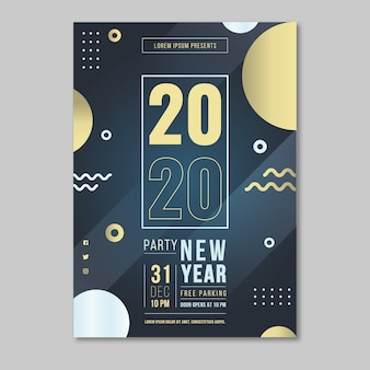 Plakat na wydarzenie nowego roku 2020 z efektem memphis