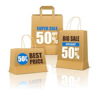 Plakat na zakupy z papierowymi torbami