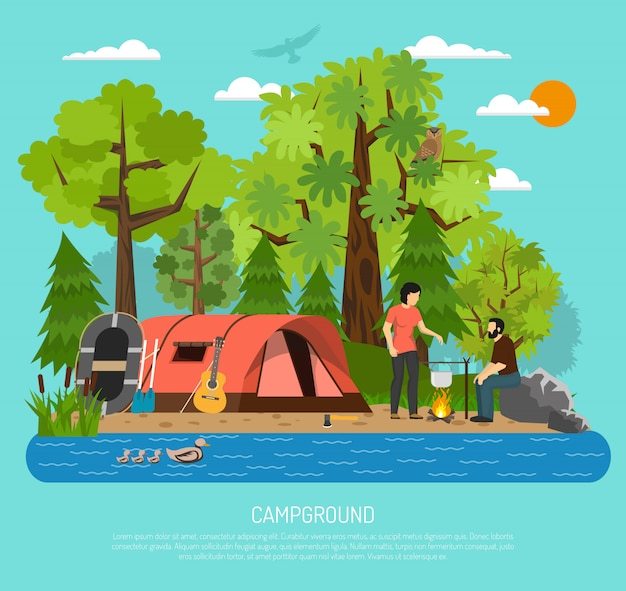 Plakat namiot kempingowy rodzinny letni