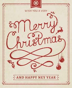 Plakat napis boże narodzenie i nowy rok