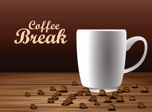 Plakat napis przerwa na kawę z filiżanką i nasionami w projektowaniu ilustracji wektorowych drewniany stół