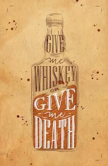 Plakat napis whisky butelki
