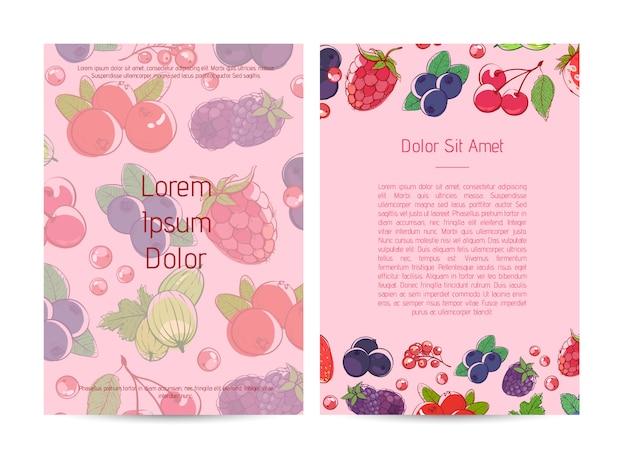 Plakat naturalnego odżywiania organicznego z jagodami
