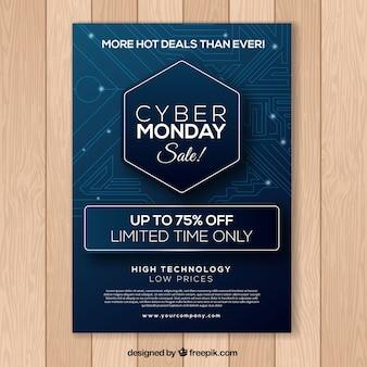 Plakat niebieski cyber poniedziałek