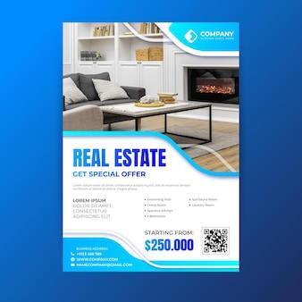 Plakat nieruchomości ze zdjęciem w kolorze gradientu