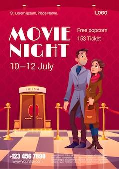 Plakat nocy filmowej w sali kinowej z otwartymi drzwiami i czerwonym płotem linowym
