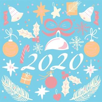 Plakat nowego roku 2020. karta lub baner