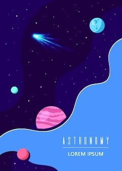 Plakat o kosmosie, nauce, astronomii i astrofizyce