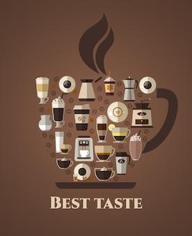 Plakat o najlepszym smaku kawy. latte i na wynos, mokka i coffeshop, americano i cappuccino, espresso i aromat, fasola.