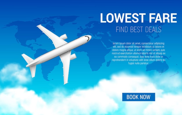 Plakat o najniższej cenie z realistycznym samolotem. promocja tanich lotów, promocja linii lotniczych, sprzedaż biletów. zarezerwuj teraz usługę turystyczną online, samolot 3d latający po niebie z mapą świata i chmurami