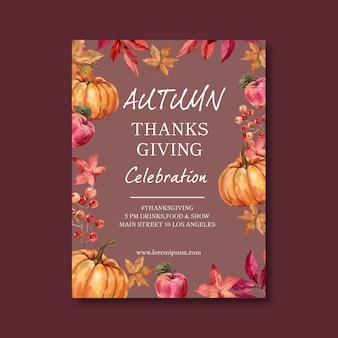 Plakat o tematyce jesień z dynią
