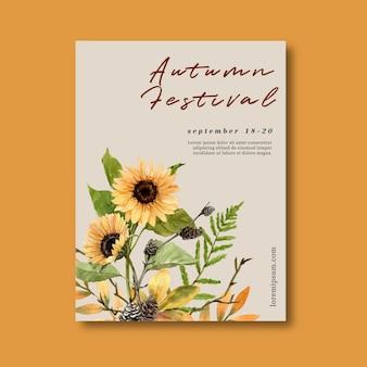 Plakat o tematyce jesiennej z roślinami