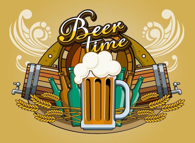 Plakat o tematyce piwa z kubkiem piwa z pianką. szklany kubek w płaskiej stylistyce na tle kolażu przedmiotów tematycznych: beczka, kłosy pszenicy, butelki, czas na piwo z napisem