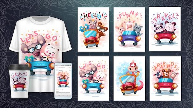 Plakat o zwierzętach turystycznych i merchandising
